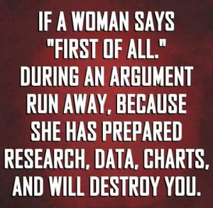 If a Woman says First of all_n